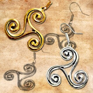 Earrings Triskelion, big silver coloured