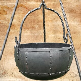 Large riveted steel cauldron, ca. 29 ltr