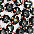 Green, Red & White Glass Eye Bead