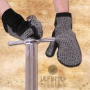 Padded leather mittens with chain maille, ID 6mm