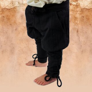 "Children's trousers with leg lacing ""Bjarke"" - Black"