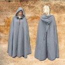 Cape with long hood with metal clasp, cotton