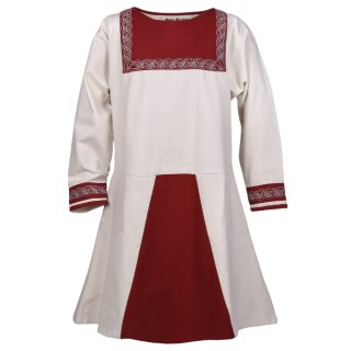 Viking Tunic Havar with embroidery, nature/red