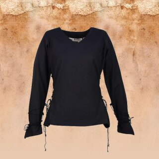 Medieval Blouse Aila with Cording, black XXL
