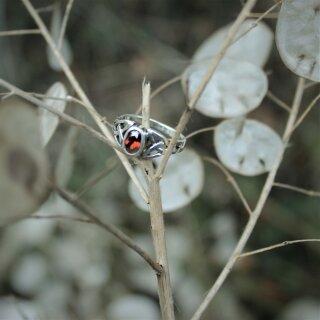 Keltischer Ring - Roter Kristall - Silber 18,5 / 58