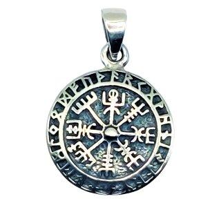 Kleiner Wikinger-Anhänger TALIZAR Ø 1.7 cm Vegvisir Kompass mit Runen Silber