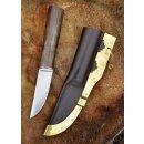 Wikinger Messer mit Walnussgriff und Lederscheide