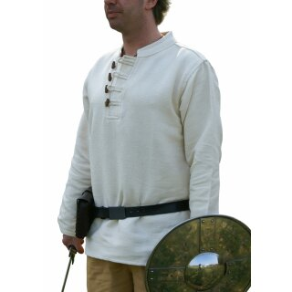Schweres Mittelalter-Hemd mit Holzknöpfen handgewebt natur