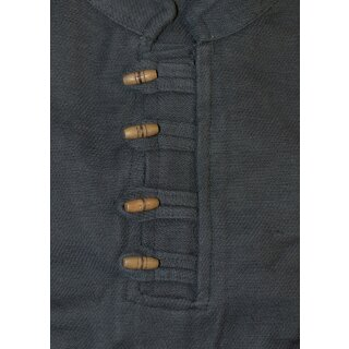 Schweres Mittelalter-Hemd mit Holzknöpfen handgewebt schwarz Gr. L