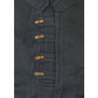 Schweres Mittelalter-Hemd mit Holzknöpfen handgewebt schwarz Gr. XXXL