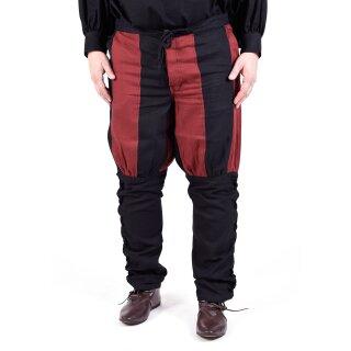 Mittelalterliche Hose mit Wadenschnürung, schwarz/rot