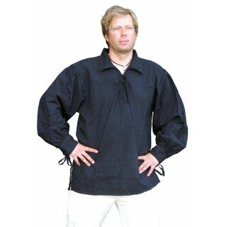 Spätmittelalter-Hemd aus Baumwolle, schwarz