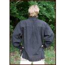 Spätmittelalter-Hemd aus Baumwolle, schwarz, Gr. M