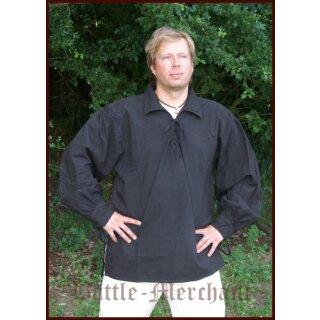 Spätmittelalter-Hemd aus Baumwolle, schwarz, Gr. XL