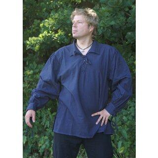 Spätmittelalter-Hemd aus Baumwolle, blau
