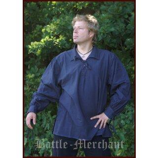 Spätmittelalter-Hemd aus Baumwolle, blau, Gr. L