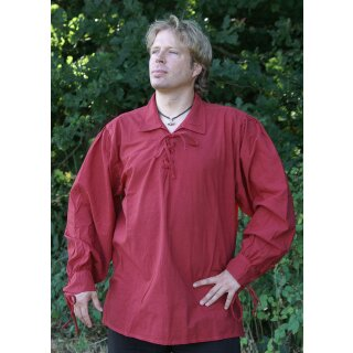 Spätmittelalter-Hemd aus Baumwolle, rot