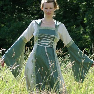 Mittelalterkleid Cecilia mit Kapuze, grün/natur, Gr. L/XL