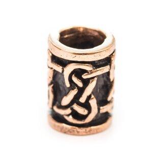 Keltische Bartperle / Schmuckperle, Unendlichkeitsknoten, Bronze