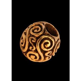 Runde Bartperle und Lockenperle mit Doppelspiralen aus Bronze