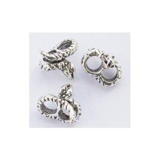 Mittelalterliche Bartperle / Haarperle mit Schlange aus Silber
