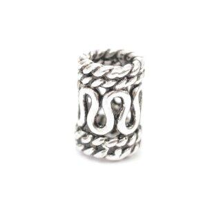Bartperle mit Schlangenmuster aus Silber