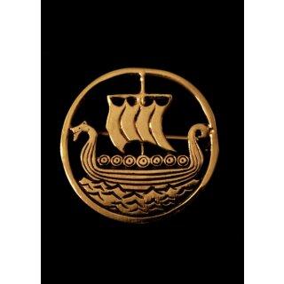 Wikinger Brosche mit Drachenboot, aus Bronze