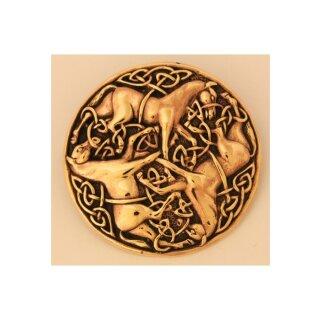 Keltische Bronzefibel Drei Pferde