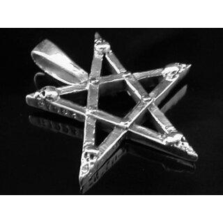 Pentagramm-Anhänger mit Totenschädeln, Silber