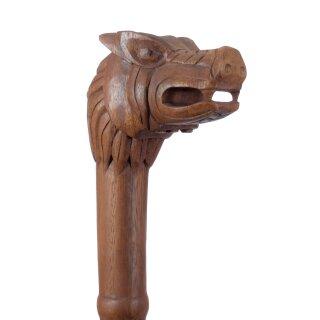 Holzstab mit Wikinger-Wolfskopf, ca. 130 cm
