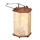 Wooden Lantern with Rawhide