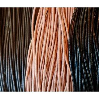 Lederband rund 2 mm, 1m lang Schwarz
