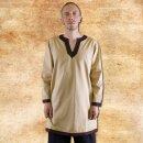 Tunic long-sleeved, beige-dark brown