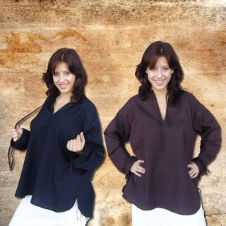 Simple Shirt for lacing made from cotton / linen XL brown