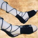 Authentic Roman Sandals made from velours leather - 40, black