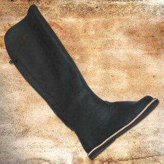 Stiefel, hinten Leder-Schnürung, Gummisohle - 41, Nubuk schwarz