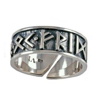 Rune Ring, adjustable - 52-60 silver