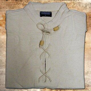 Handgewebtes, dickes Baumwolle-Hemd - L, schwarz
