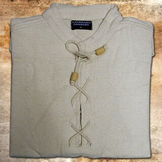 Handgewebtes, dickes Baumwolle-Hemd - M, schwarz