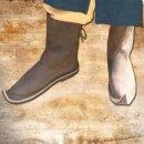 Stiefel mit nach oben gebogener Spitze - 38, Velours braun