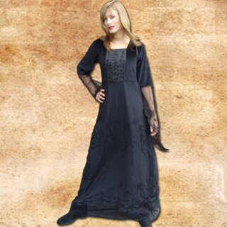 Dress Fairy, viscose with net lace - S, black