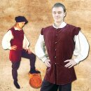 Cotton velvet doublet with cotton lining - XL, red
