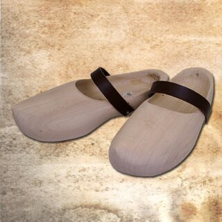 Wooden Shoes with leather strap - 43